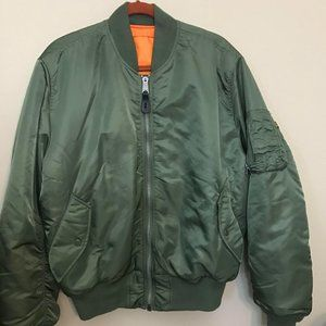 Alpha Industries Green Army Bomber Jacket Large
